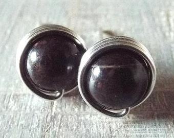 Black Obsidian Earrings, Black Stone Earrings, Black Stud Earrings, Gothic Earrings, Gift for Her, Obsidian Jewelry, Gothic Jewelry, Unique
