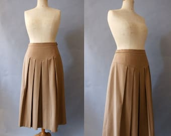 1960s Camel Pleated Wool Skirt