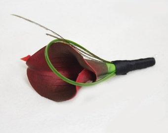 Silk Burgundy or Plum Calla Lily Wedding Boutonniere  - Natural Touch Callas Wedding Boutonniere - Plum Purple or Wine Color