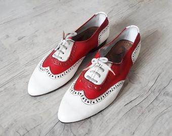 Men  Shoe Red and White Shoe Men Wingtips
