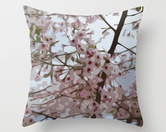 Pink blossom pillow, spring cherry pillow, pink blossom foliage, home decor cushion, decorative pillow, feminine floral art, soft furnishing