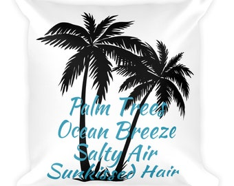 Beach Square Pillow, Palm Trees Pillow