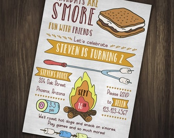 Camping invitations etsy camping birthday invitation camping birthday party invitation camping invitation smore party filmwisefo