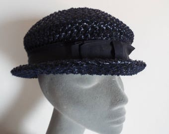 Vintage Ladies Hat  1950's Navy Straw Day Hat very Chic Grosgrain banding with Bow