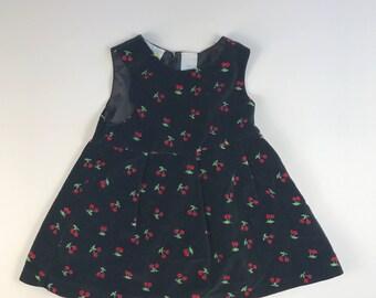 Black Velvet Baby Girl Dress with Cherries Size 18 months