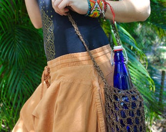 Hand Crochet Bottle Carriers (Brown or Beige Ficus)