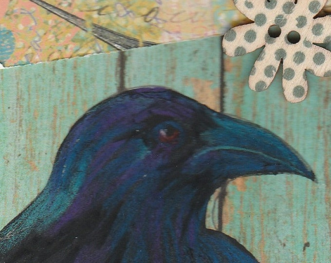 ACEO raven original mixed media blue fence daisy button