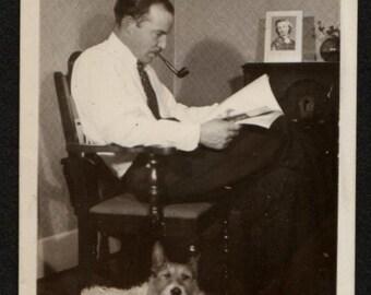 Vintage Photo Pipe Smoking Man Reading Magazine Dog at His Feet 1930's, Original Found Photo, Vernacular Photography
