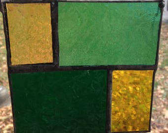green and yellow stained glass