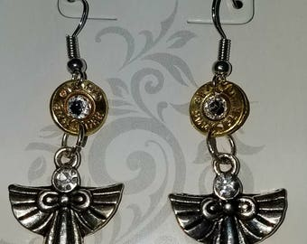 Angel earrings 9mm recycled  casings above the Angel with  swarovski crystal bling