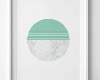 Contemporary art, green wall art, abstract print, mint wall decor, marble wall art,  marble print, abstract wall art, mint circle print