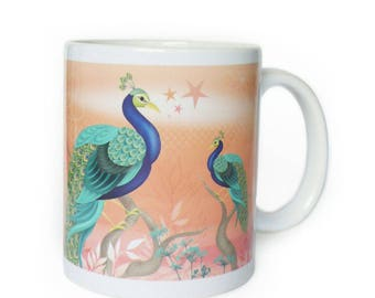 "Mug Cup deco ""wonderful Peacock"" orange background, women, teen, girl gift"