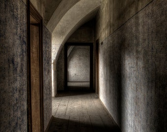Abandoned castle hallway, urban exploration, urbex
