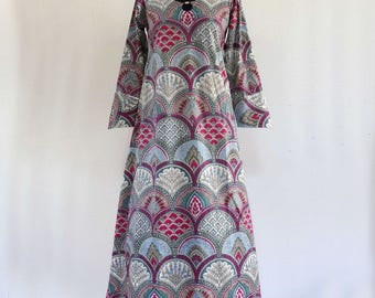 Long dress inside, ample hostess gown cotton arches grey, pink and multicolor