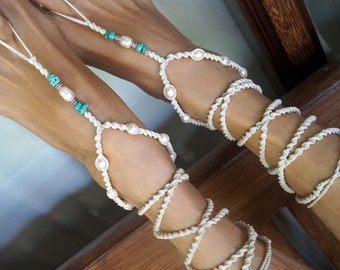 Beach Wedding Barefoot Sandals, Fresh Water Pearl Sandals, Turquoise Stone Anklet, Wrap Barefoot Sandal, 1 Pair
