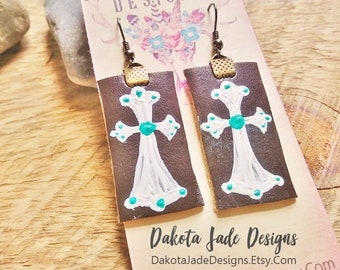 Cross Earrings. Western Earrings. Cowgirl Earrings. Leather Earrings. Turquoise White Cross. Cowgirl Jewelry. Hand Painted. Leather Jewelry