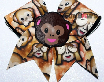 Emoji  Monkey  3-D cutout Cheer  bow by FunBows - WOW   !!