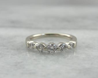 Bright Bar Set Diamond Wedding Band in White Gold, Graduated Diamond Band, F9P3FY-N