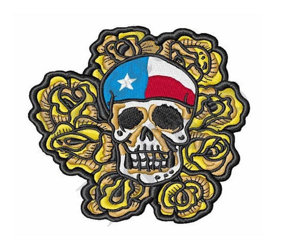 Yellow rose texas skull machine embroidery design