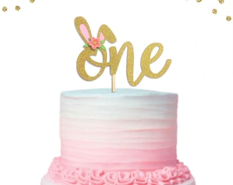 1 pc Flowers Bunny Ear ONE Gold Glitter Cake Topper for Birthday Baby Girl Some Bunny is One theme