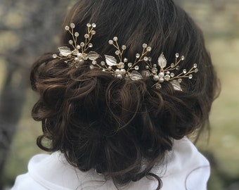 Bridal Hair Pins, Pearl Rhinestone Hair Pins, Wedding Hair Accessory, Gold Leaf Hair Pins, Bridesmaid Hair Accessory