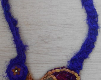 Necklace Freeform Crochet with Sea Glass