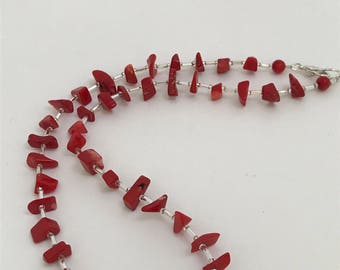 Necklace/Red Chip Beads