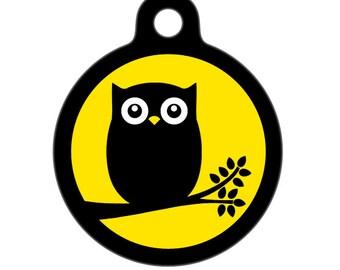 Pet ID Tag - Full Moon Owl  Pet Tag, Dog Tag, Cat Tag