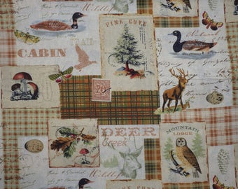"Deer Creek, Northern Memories Cabin Fabric, Cream & Brown, 44"" wide, by the half yard, 100% Quilting Cotton by David Textiles"