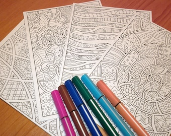 Hard copy: coloring postcards with abstact