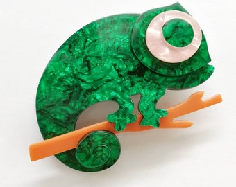 Beautiful chameleon pin brooch made from acetate