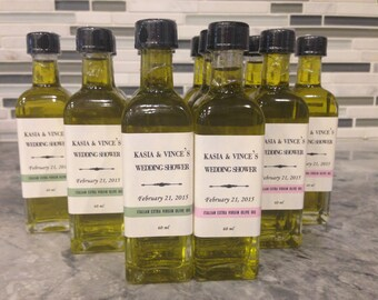 Custom printed Olive Oil and Balsamic Vinegar Wedding Favors