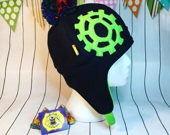 Sprocket Hat made from cosy fleece, cyclist, bike, bike hat, sprocket