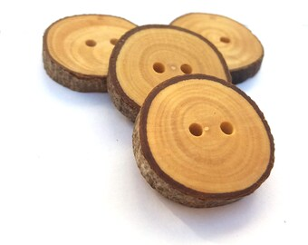Wooden Buttons Olive Tree Buttons Wood Buttons Natural Buttons Knitting Sewing Crochet Eco Craft Supplies Set of 4, 1 inch Buttons 2,5 cm