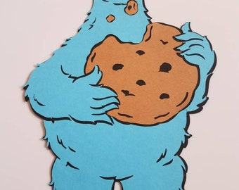 12-18 incles, Large Cookie Monster, Sesame Street Die Cut, Sesame Street Party Decors