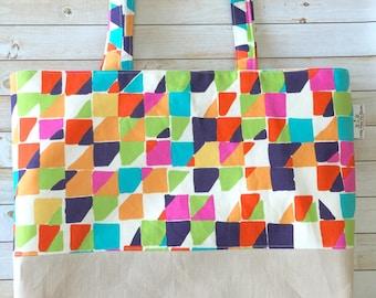 Multicolor Block Geometric Linen And Canvas Tote Bag, Beach Bag, Work Tote, School Bag, Book Bag, Travel Tote Bag