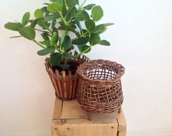 Wicker planters, plant stand , rattan plant pot, 70s