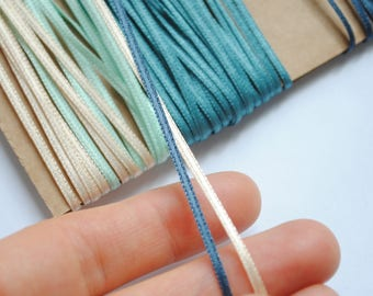 1 meter Ribbon satin 2mm end colors - Blue, green, green pistachio green, beige, salmon pink pastel, taupe