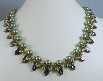 Woven Pearl Necklace with Leaves and Swarovski Crystals Green and Bronze Gifts for Her
