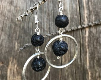 Black lava and sterling silver plated hoop earrings