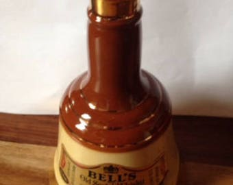 Vintage Bells Old Scotch Whisky Bottle Decanter Made by Wade Porcelain In Perth Scotland. Collectible