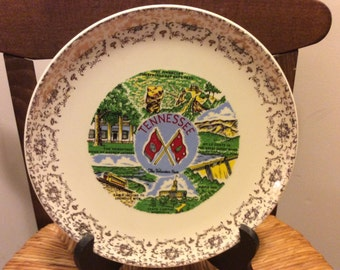 Vintage Tennessee Souvenir Plate, Volunteer State, Decorative Wall Plate, Country Kitchen, Man Cave Decor