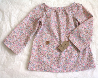 MISSY BLOUSE / size 2T / tiny pink floral  / vintage fabric