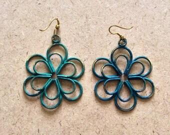 Mod Oxidized Green Brass Flower Design Dangle Earrings