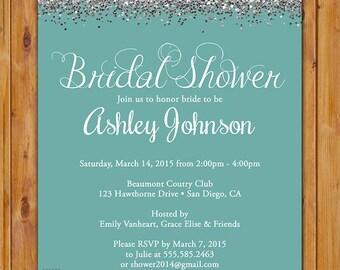 Teal Blue Bridal Shower Silver Glitter Sparkles Invite Hens Party Printable Invitation 5x7 Digital JPG (465)