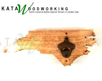 North Carolina Wood Cut-out Bottle Opener - Wall Mount - Handmade!