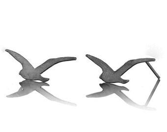 Oxidized Silver Small Seagull stud Earrings, Flying Seagull Posts, Oxidized Silver Bird Earrings, Tiny Bird Earrings, cyber monday, sale