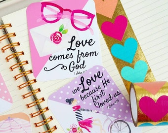Love Never Fails Love one another scripture inspired / set of 6 journaling / bible journaling cards