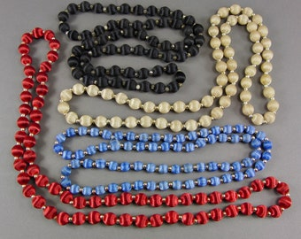 Vintage Silk Bead Necklace Repurpose Lot, Wear or Reuse, 4 Necklaces, Blue, Red, Cream or Beige, Black, 8mms, 10mms, Destash
