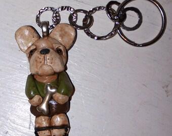Folk Art Nostalgic French Bulldog Bull Dog Ooak Key Chain Frenchie